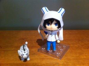 Personally I like to display him with his hoodie up and the smiling faceplate.